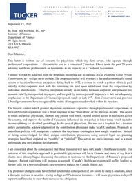 Letter to Minister Morneau on Behalf of Doctors